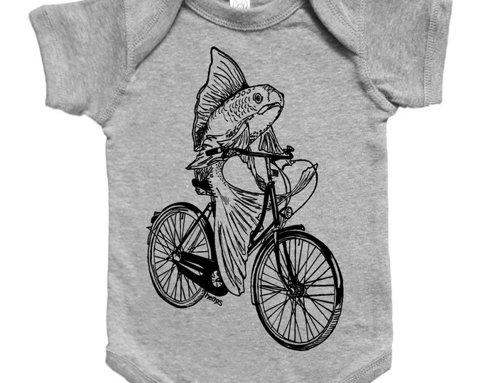 Baby One Piece - Unique Baby Gift - Baby Boy Bodysuit - Baby Girl Bodysuit - Baby Jumper - Fish on a Bike - Unisex Infant Clothes - Creeper