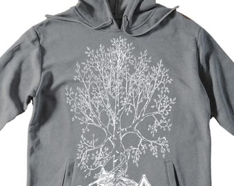Unisex Pullover Hoodie for Men or Women - Fleece Hoodie - Canoe Birch Tree Screen Print - Long Sleeve - Heather Gray