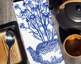 Set of 4 Cloth Napkins - Chamomile Tea Pot Napkins - Cotton Dinner Napkins - Blue Ink Print - Unique Wedding Gift Idea - Hand Designed
