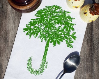 Kitchen Towel - Flour Sack Towel Screen Printed Cotton - Eco Friendly Handmade Tea Towel - Hand Towel Dish Towel - Green Umbrella Plant