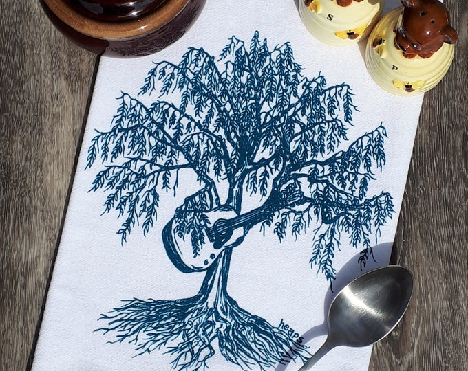 Kitchen Dish Towel - Screen Printed - Cotton Flour Sack Towel -  Hand Tea Towel - Guitar Gift - Funny Gifts - Willow Tree Playing Guitar