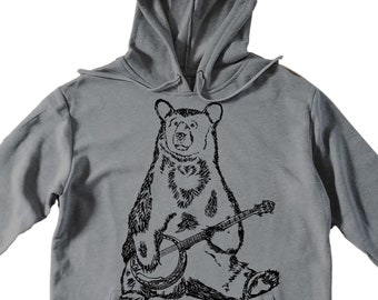 Unisex Pullover Hoodie for Men or Women - Fleece Hoodie - Bear Playing Banjo Screen Print - Long Sleeve - Heather Gray