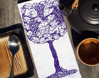 Dinner Napkins - Screen Printed Cotton - Purple Wine Glasses - Cotton Table Napkin - Washable Reusable - Grape Vine - Wine Gift
