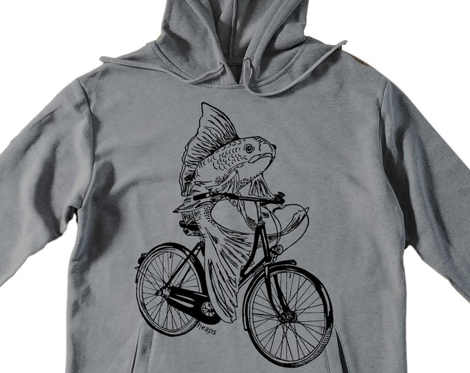 Unisex Pullover Hoodie for Men or Women - Fleece Hoodie - Fish on a Bike Screen Print - Long Sleeve - Heather Gray