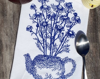 Tea Towel -  100% Cotton Flour Sack Kitchen Towel - Kitchen Dish Towel - Printed Towels Blue Chamomile Plant Tea Pot - Funny Towels