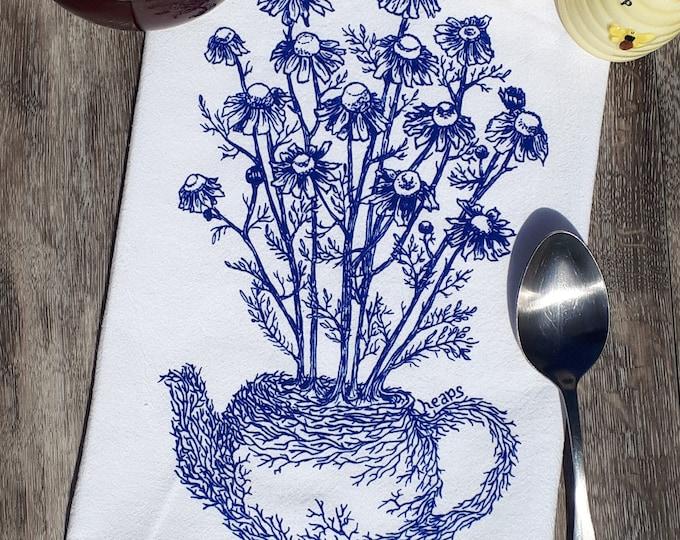 Tea Towel -  100% Cotton Flour Sack Kitchen Towel - Kitchen Dish Towel - Printed Towels Blue Chamomile Plant Tea Pot - Funny Towels