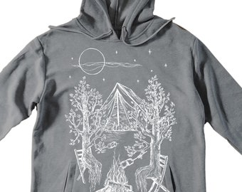 Unisex Pullover Hoodie for Men or Women - Fleece Hoodie - Trees Camping Screen Print - Long Sleeve - Heather Gray