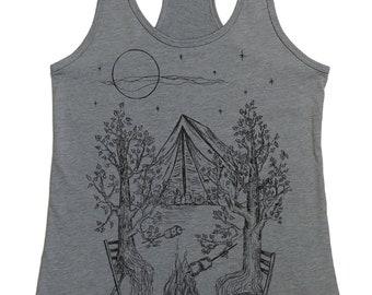 Camping Tank Top for Women - Outdoors Tank Top  - Campfire Shirt - Trees Tshirt - Womens Tank Tops - Bonfire - Tenting - Funny Tank Tops