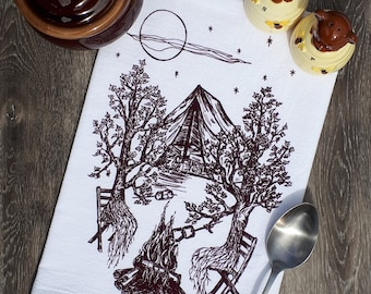 Screen Printed Cotton Kitchen Towel - Trees Camping - Flour Sack Towel - Tea Towel Cup Towel - Unique House Warming Gift Birthday Gift