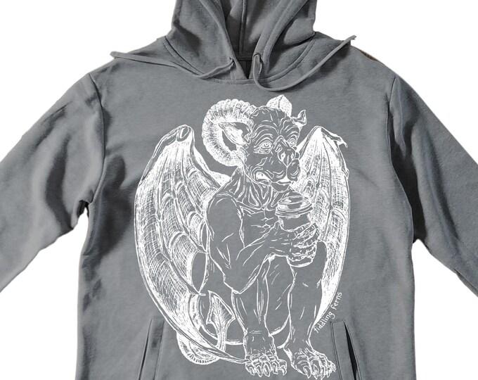 Unisex Pullover Hoodie for Men or Women - Fleece Hoodie - Gargoyle Drinking Coffee Screen Print - Long Sleeve - Heather Gray