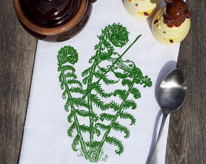 Tea Towel -  100% Cotton Flour Sack Kitchen Towel - Kitchen Dish Towel - Printed Towels - Funny Towels - Fiddle Head Violin Gift - Violinist