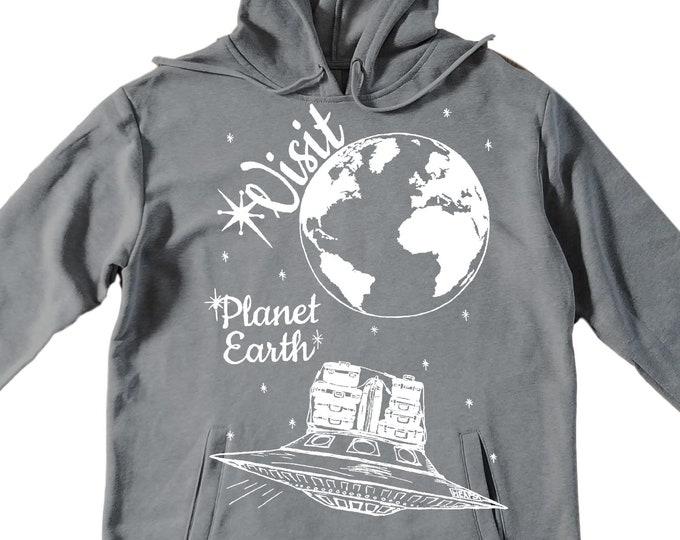Unisex Pullover Hoodie for Men or Women - Fleece Hoodie - Alien Vacation Screen Print - Long Sleeve - Heather Gray