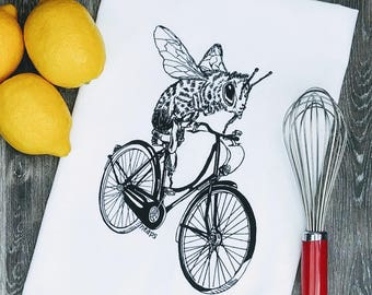 Funny Tea Towel - Black Ink Screen Print Bee on a Bike - Flour Sack Towel - Tea Towel - Dish Towel - Cotton Towel - Large Towels  Hand Towel