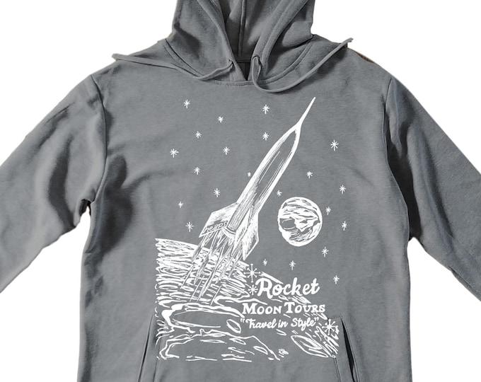 Unisex Pullover Hoodie for Men or Women - Fleece Hoodie - Space Rocket Screen Print - Long Sleeve - Heather Gray