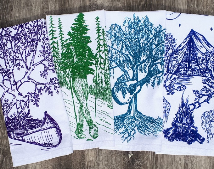 Funny Forest Table Napkins - Cotton Eco Friendly Cloth Napkin Set - House Warming Gift - Unique Table Linens - Washable Reusable Colorful