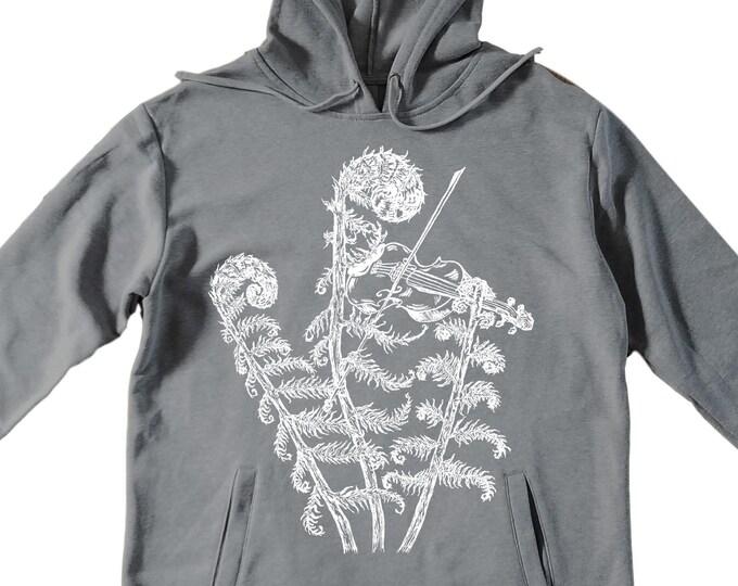 Unisex Pullover Hoodie for Men or Women - Fleece Hoodie - Fiddle Head Fiddling Screen Print - Long Sleeve - Heather Gray