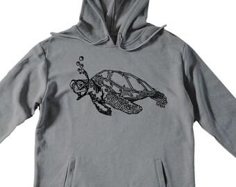 Unisex Pullover Hoodie for Men or Women - Fleece Hoodie - Turtle Snorkeling Screen Print - Long Sleeve - Heather Gray