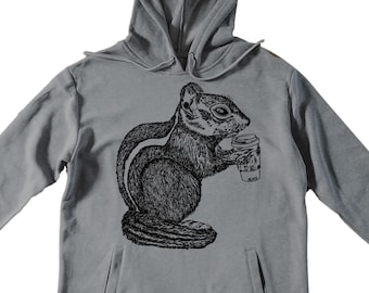 Unisex Pullover Hoodie for Men or Women - Fleece Hoodie - Chipmunk Drinking Coffee Screen Print - Long Sleeve - Heather Gray