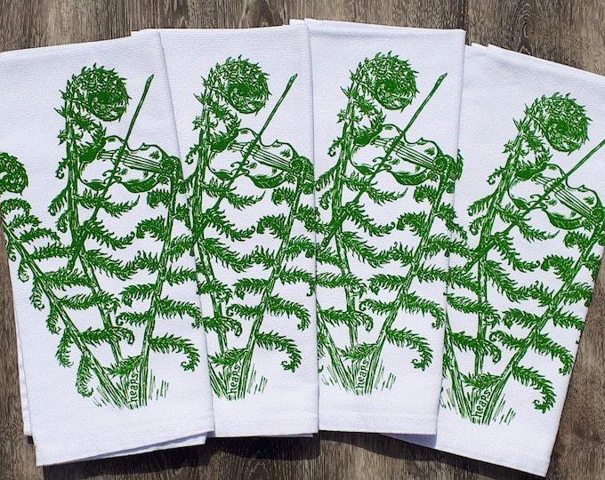 Cotton Napkins - Screen Printed Cotton Cloth Napkins - Fiddle Head Dinner Napkins- House Warming Gift - Washable Reusable Eco Friendly Gift