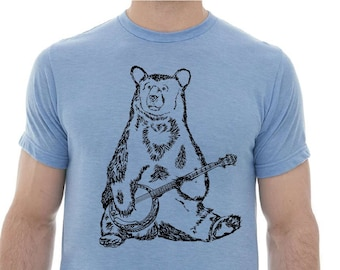 Tshirts for Men Premium Quality Lightweight CVC Blend - Heather Blue Blended Shirt - Bear Playing Banjo Graphic Gifts Polyester Cotton Top