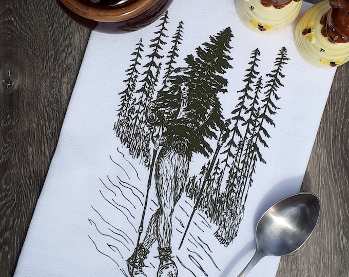 Tea Towel - Screen Printed Hiker Tree Towel - Perfect for Dishes - Hand Towel Dish Towel Kitchen Towel - Funny Gift Idea - Flour Sack Towel