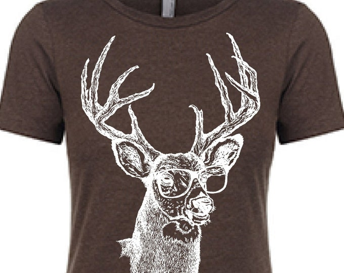 Womens TShirts -  Deer Womens Tees - Hipster TShirts - Best Friend Gift - Womens Tee - Buck T Shirt - Brown Tshirts - Gift for Women