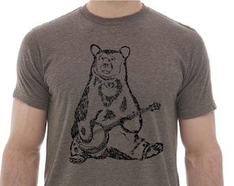 TShirts for Men Premium Quality Lightweight CVC Blend Heather Brown Tshirt Bear Playing Banjo Graphic Funny Hipster Clothing Boyfriend Gift