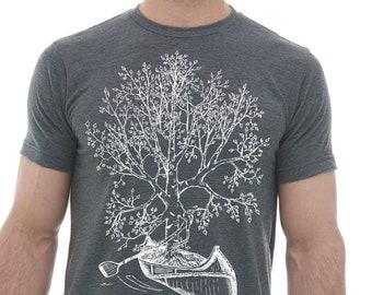 Tshirts for Men Premium Quality Lightweight CVC Blend - Heather Charcoal Blended Tshirt - Birch Tree Canoeing - Funny Tee S M L XL 2XL