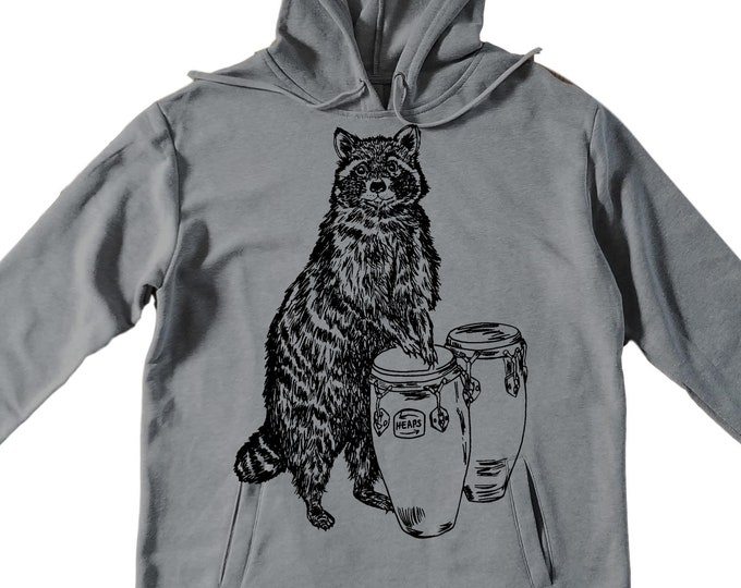 Unisex Pullover Hoodie for Men or Women - Fleece Hoodie - Raccoon Playing Congas Screen Print - Long Sleeve - Heather Gray
