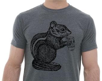 Graphic Mens T Shirt - Premium Lightweight CVC Blend Heather Charcoal - Blended Tshirt - Chipmunk Drinking Coffee Funny Animals Coffee Gift