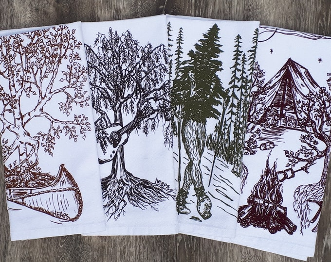 Screen Printed Table Napkins Set - Set of Four - Cotton Napkins - Funny Trees - Cute Nature Theme Dinner Napkin Set -Burgundy Brown Green