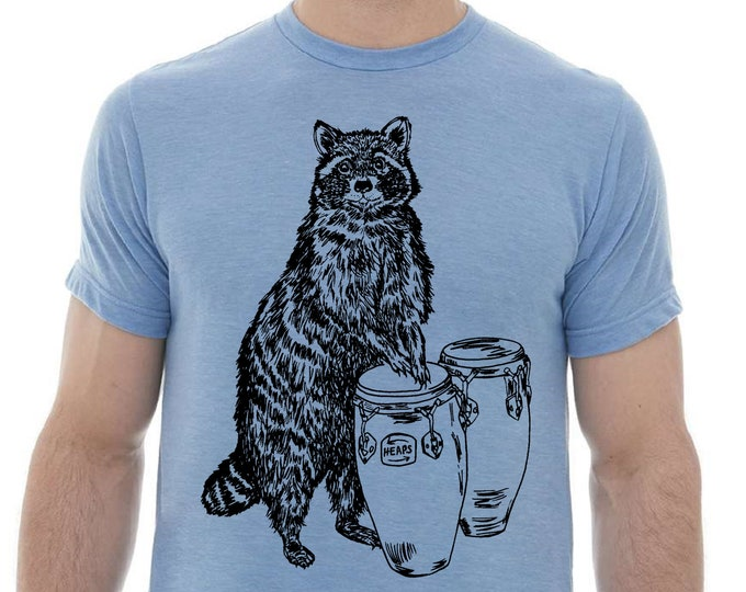 Tshirts for Men - Premium Quality Lightweight CVC Blend Tee - Heather Blue Blended Shirt - Raccoon Graphic - Polyester Cotton Top for Him