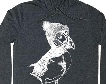 Mens Hoodies - Graphic Hoodie for Men - Mens Gift - Pullover Hoodie - Running Hoodie - Puffin Hoodie - Grey Hoodie - Long Sleeve Tshirt