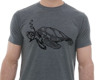 Tshirts for Men Premium Quality Lightweight CVC Blend - Heather Charcoal Blended Tee Snorkeling Turle Funny Graphic Mens Gifts for Husband