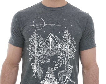 Mens Tshirt Premium Quality Lightweight CVC Blend Heather Charcoal - Trees Camping Graphic Forrest Funny Camping Shirt Tenting Bonfire