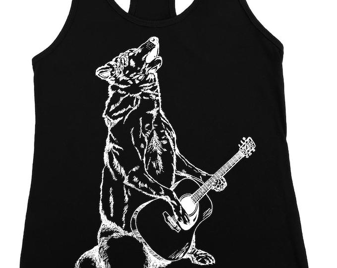 Womens Tank Top -  Wolf Tank Tops - Loose Fit - Guitar Tank - Black Racerback Tanks - Flowy Tanks - Acoustic Guitar Shirt - Guitar Player