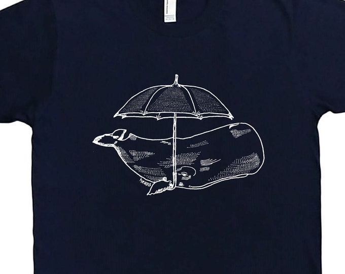 Mens T Shirt - Whale with an Umbrella T Shirt - Animal Tee - Funny T Shirts - Graphical Hipster Tees - Mens Whale Tee Shirt - Nerdy T-Shirts