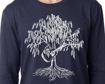 Long Sleeve T-Shirt for Men Lightweight Music Teacher Gift Screen Printed TShirt Willow Tree Playing Guitar S M L XL 2XL Blue Cotton Tee