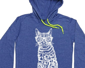 Womens Hoodies - Hipster Cat Hoodie - Cat Lover Gift - Long Sleeve Pullover - Cat with Glasses - Womens Hoody - Funny Hoodie - Cat Tee Shirt