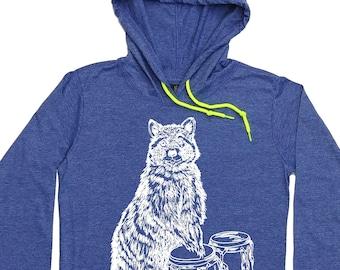 Womens Hoodie Graphic - Raccoon Hoodie - Drummer Hoodie - Congas TShirt - Hoodie Tshirt Women - Funny Hoodies - Hipster Clothing - Hippie