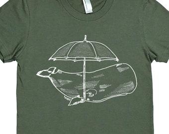 Womens T Shirt - Funny Womens T Shirts - Whale with Umbrella T Shirt - Hipster Clothing - Ironic Tee - Animal T Shirt - Green T Shirt