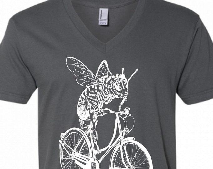 Mens V Neck Tshirt - Dark Grey Bee on a Bike Vneck Tshirt - American Apparel V-Neck - S M L XL 2XL - Boyfriend Birthday Gift - Husband Gift