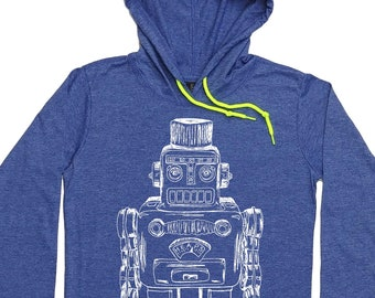 Gift for Women - Long Sleeve Hoodies - Vintage Space Robot - Pullover 100% Cotton - Periwinkle
