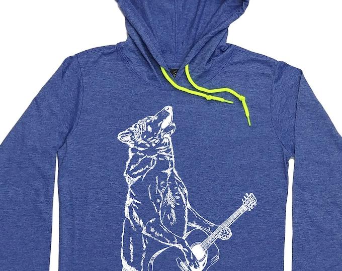 Women's Hoodies - Guitarist Hoodie - Guitar Player Hoodie - Howling Wolf Tee - Wolf Hoodie - Wolf TShirt - Guitar Player Gift Graphic Hoody