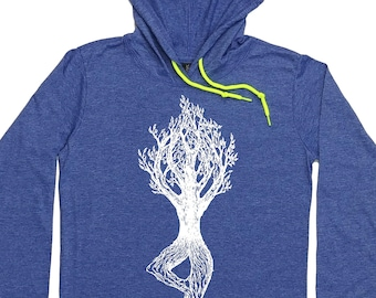 Womens Hoodies - Yoga Hoodie - Yoga Warm Up - Yoga Warmup Shirt - Womens Yoga Tee - Tree Pose - Hoodie for Girlfriend - Hooded Tshirt Woman