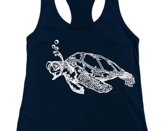 Tanks for Women - Beach Tshirt - Snorkeling Turtle Tank - Beach Tank Tops - Summer Tank Top - Cute Tank Top - Printed Flowy Tank - Blue