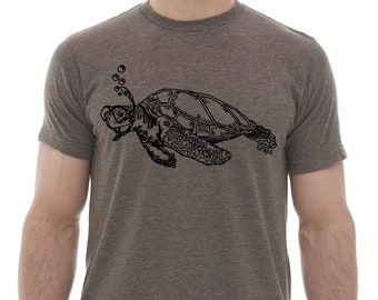TShirts for Men Premium Quality Lightweight CVC Blend - Heather Brown Tshirt - Snorkeling Turtle Graphic Shirt Printed Funny Swimming Nature