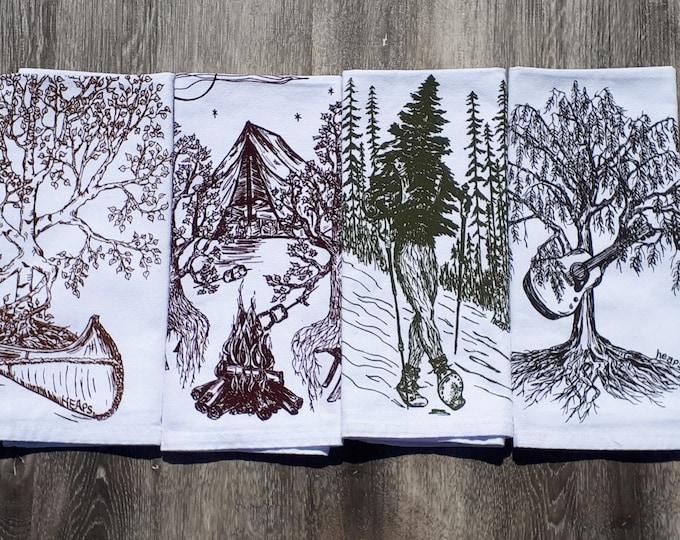 Cotton Napkins Set - Screen Printed Funny Trees Dinner Napkins - Washable Reusable Kitchen Table Linens - Nature Napkins - Cottage Decor