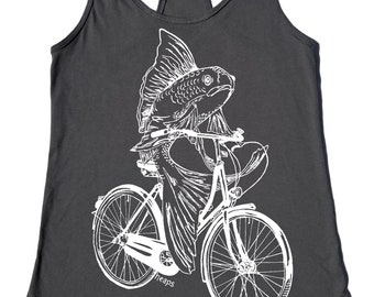Tank Tops for Women - Workout Tank - Gifts for Women - Gifts for Sister - Fish on a Bike - Gray - Flowy Racerback Feminist Screen Printed