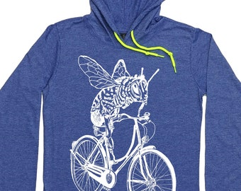 Womens Hoodies - Hoodie Graphic - Bee Shirt - Bee Hoodie - Bicycle Hoodie - Cycling - Biking Shirt - Hoodie T Shirt for Women Pullover